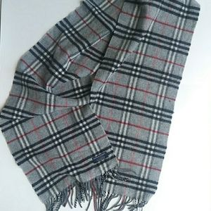 Burberry Classic Check Gray Lambswool Scarf